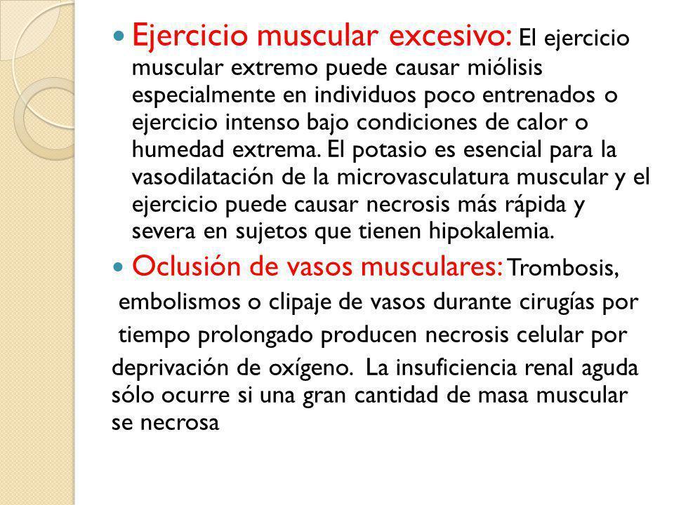 Ejercicio muscular excesivo: El ejercicio muscular extremo puede causar miólisis especialmente en individuos poco entrenados o ejercicio intenso bajo condiciones de calor o humedad extrema.