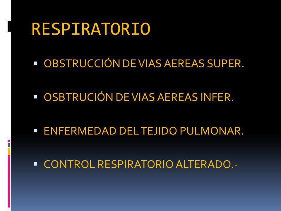 RESPIRATORIO OBSTRUCCIÓN DE VIAS AEREAS SUPER.OSBTRUCIÓN DE VIAS AEREAS INFER.