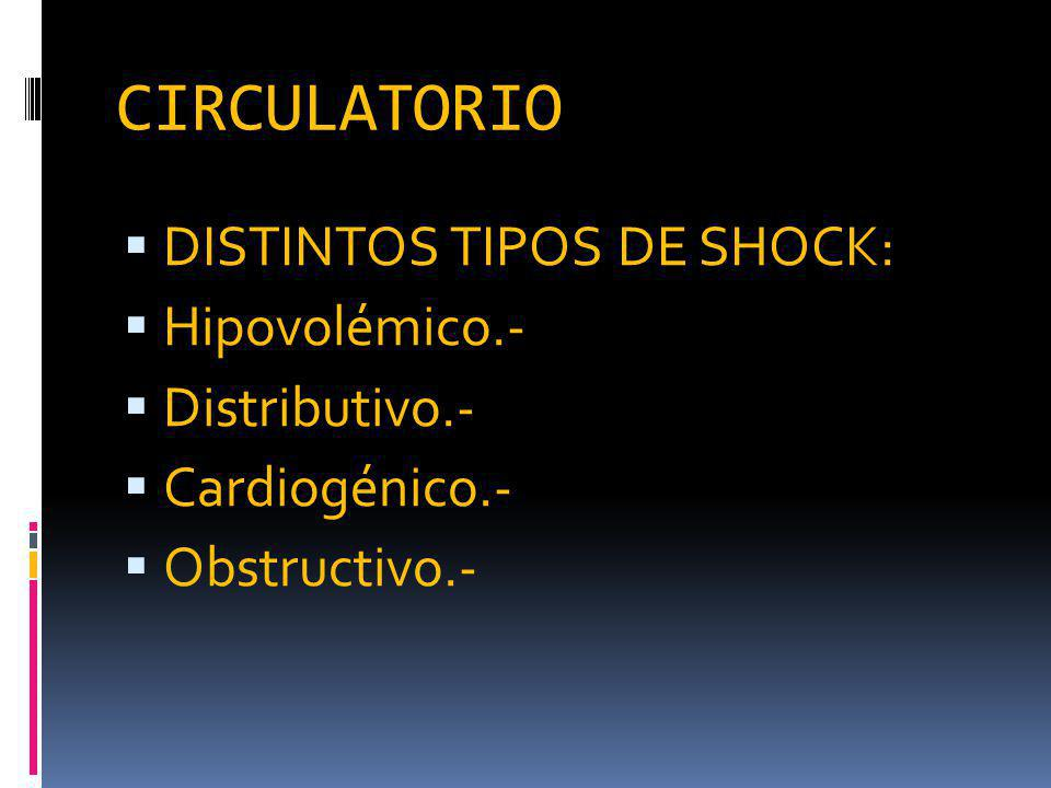 CIRCULATORIO DISTINTOS TIPOS DE SHOCK: Hipovolémico.- Distributivo.- Cardiogénico.- Obstructivo.-