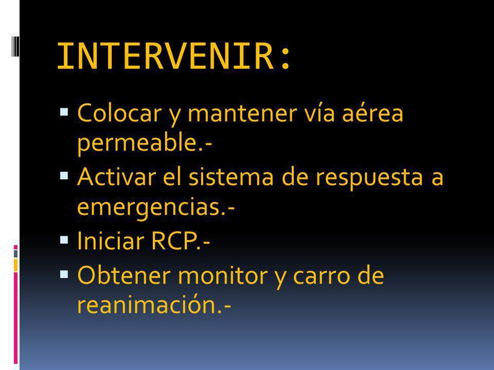 INTERVENIR: Colocar y mantener vía aérea permeable.- Activar el sistema de respuesta a emergencias.- Iniciar RCP.- Obtener monitor y carro de reanimación.-