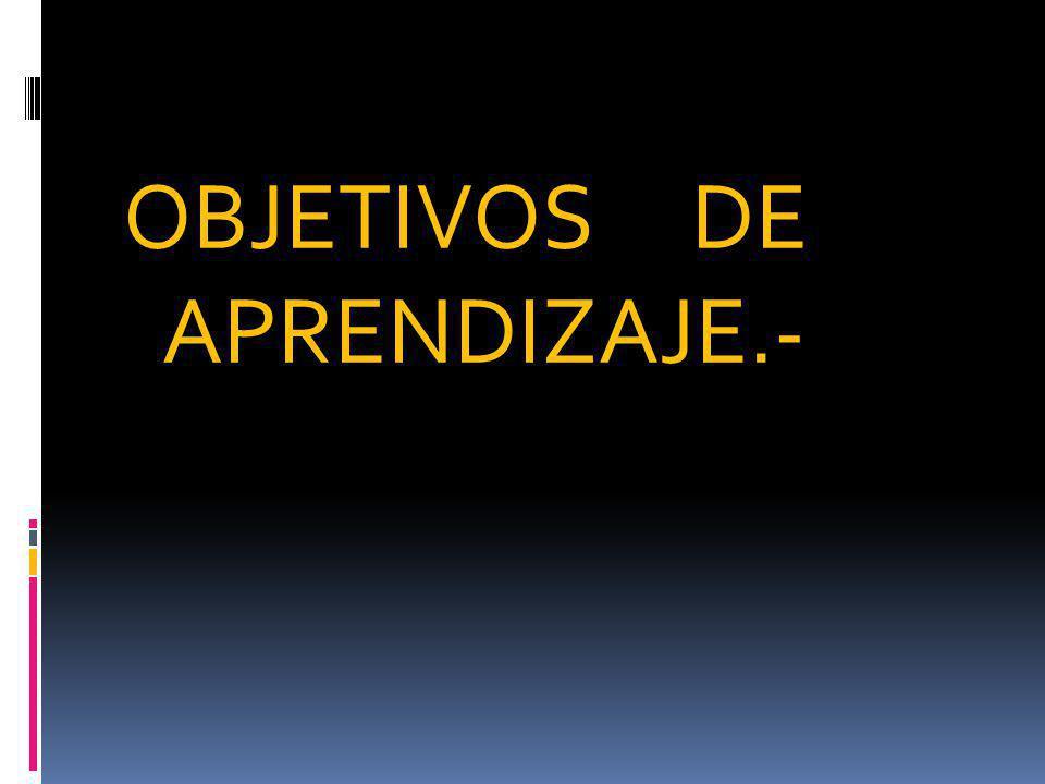 OBJETIVOS DE APRENDIZAJE.-