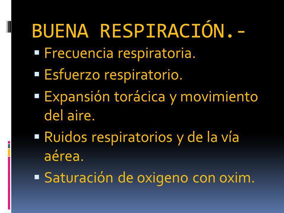 BUENA RESPIRACIÓN.- Frecuencia respiratoria.Esfuerzo respiratorio.