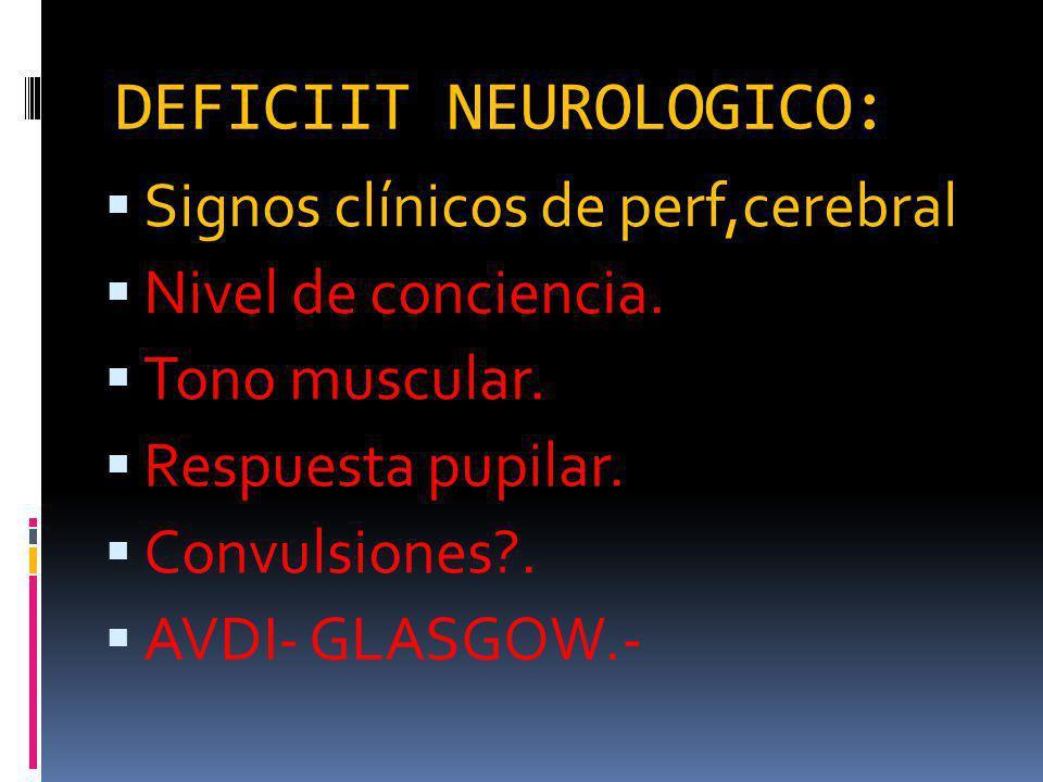 DEFICIIT NEUROLOGICO: Signos clínicos de perf,cerebral Nivel de conciencia.