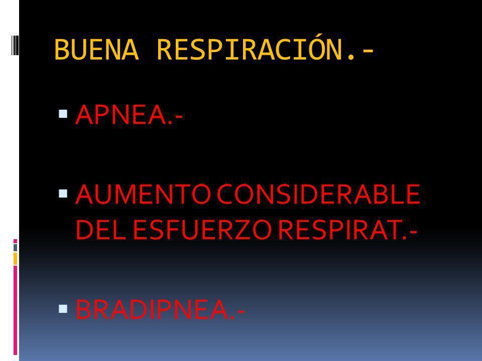 BUENA RESPIRACIÓN.- APNEA.- AUMENTO CONSIDERABLE DEL ESFUERZO RESPIRAT.- BRADIPNEA.-