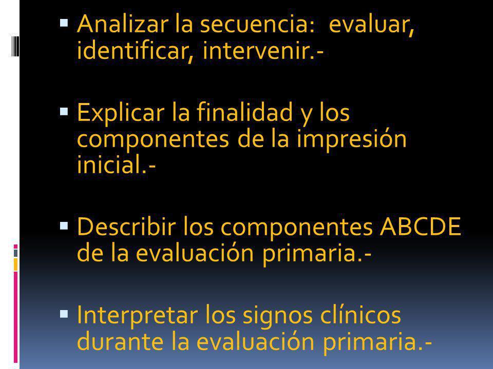 Analizar la secuencia: evaluar, identificar, intervenir.- Explicar la finalidad y los componentes de la impresión inicial.- Describir los componentes ABCDE de la evaluación primaria.- Interpretar los signos clínicos durante la evaluación primaria.-