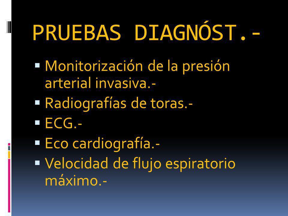 PRUEBAS DIAGNÓST.- Monitorización de la presión arterial invasiva.- Radiografías de toras.- ECG.- Eco cardiografía.- Velocidad de flujo espiratorio máximo.-