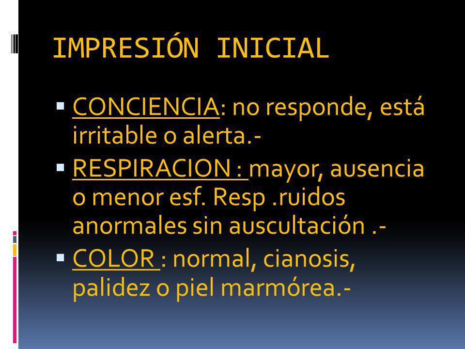 IMPRESIÓN INICIAL CONCIENCIA: no responde, está irritable o alerta.- RESPIRACION : mayor, ausencia o menor esf.