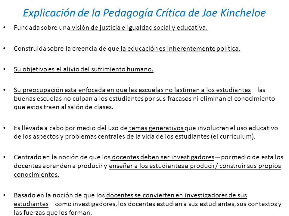 Explicación de la Pedagogía Crítica de Joe Kincheloe Fundada sobre una visión de justicia e igualdad social y educativa. Construida sobre la creencia