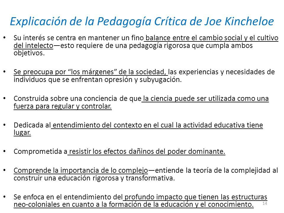 Explicación de la Pedagogía Crítica de Joe Kincheloe Su interés se centra en mantener un fino balance entre el cambio social y el cultivo del intelectoesto requiere de una pedagogía rigorosa que cumpla ambos objetivos.