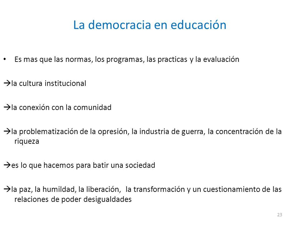La democracia en educación Es mas que las normas, los programas, las practicas y la evaluación la cultura institucional la conexión con la comunidad l