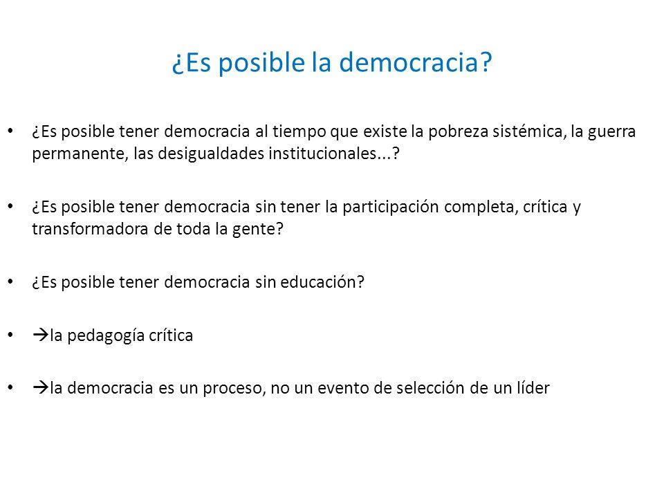 ¿Es posible la democracia? ¿Es posible tener democracia al tiempo que existe la pobreza sistémica, la guerra permanente, las desigualdades institucion