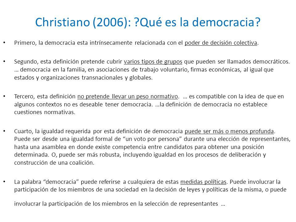 Christiano (2006): ?Qué es la democracia? Primero, la democracia esta intrínsecamente relacionada con el poder de decisión colectiva. Segundo, esta de