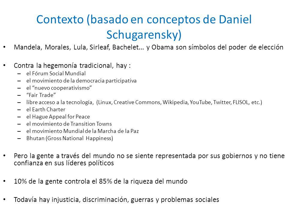 Contexto (basado en conceptos de Daniel Schugarensky) Mandela, Morales, Lula, Sirleaf, Bachelet... y Obama son símbolos del poder de elección Contra l