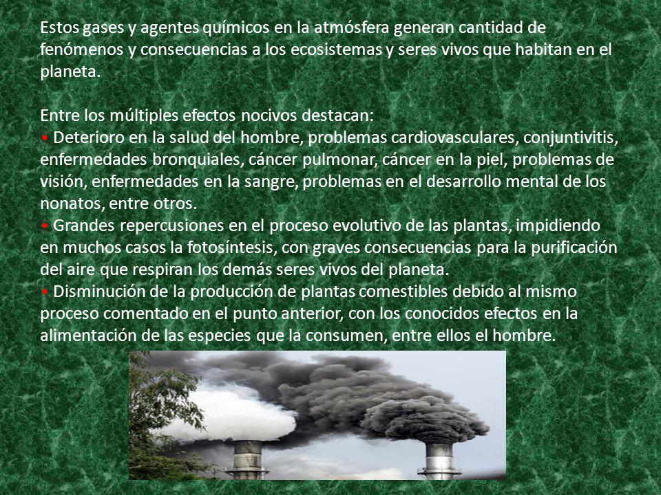 Estos gases y agentes químicos en la atmósfera generan cantidad de fenómenos y consecuencias a los ecosistemas y seres vivos que habitan en el planeta
