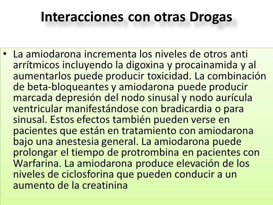 Interacciones con otras Drogas La amiodarona incrementa los niveles de otros anti arrítmicos incluyendo la digoxina y procainamida y al aumentarlos pu