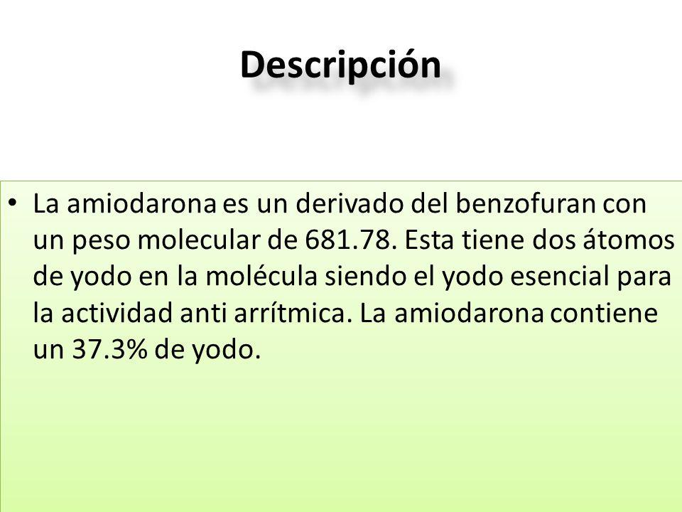 Descripción La amiodarona es un derivado del benzofuran con un peso molecular de 681.78. Esta tiene dos átomos de yodo en la molécula siendo el yodo e