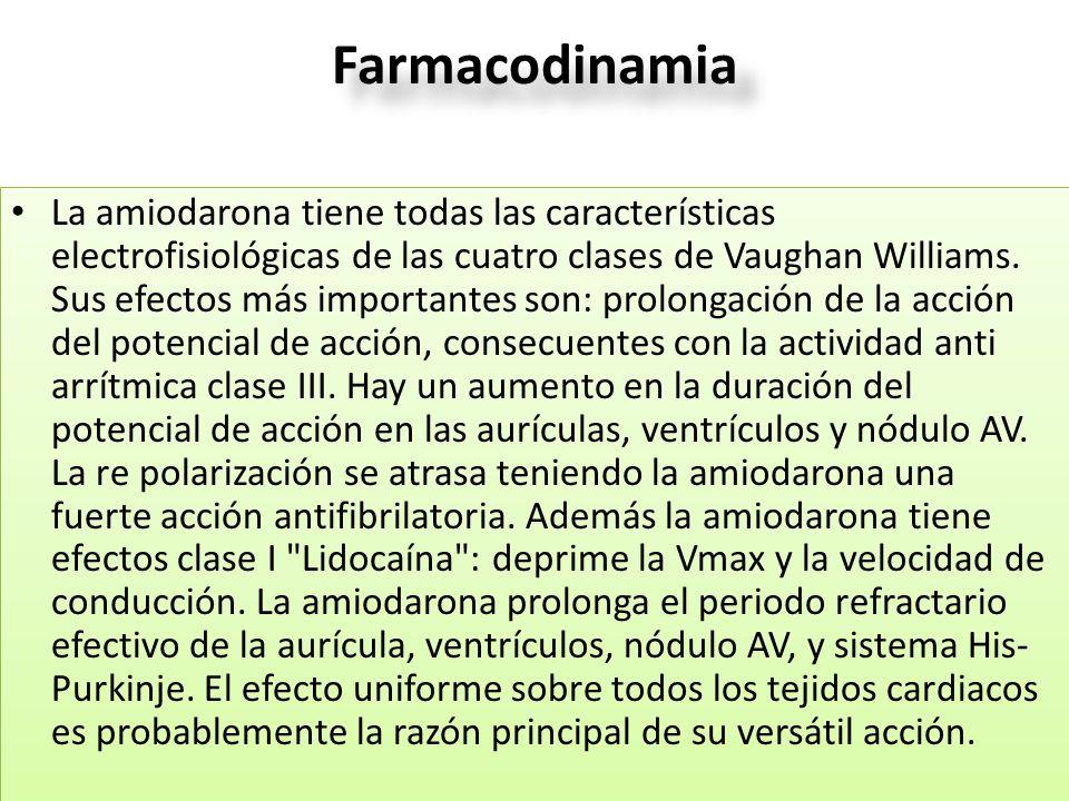 Farmacodinamia La amiodarona tiene todas las características electrofisiológicas de las cuatro clases de Vaughan Williams. Sus efectos más importantes