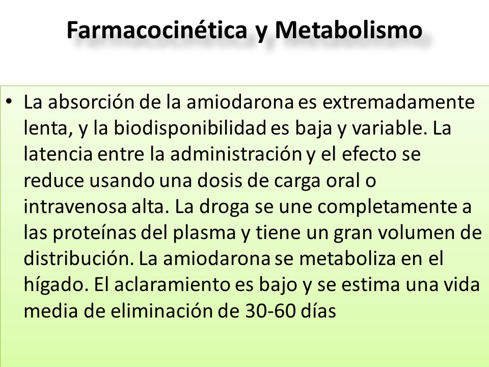 Farmacocinética y Metabolismo La absorción de la amiodarona es extremadamente lenta, y la biodisponibilidad es baja y variable. La latencia entre la a