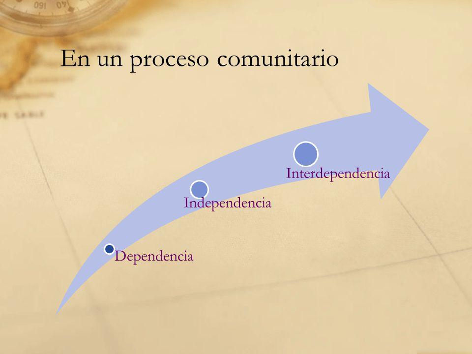 En un proceso comunitario Dependencia Independencia Interdependencia