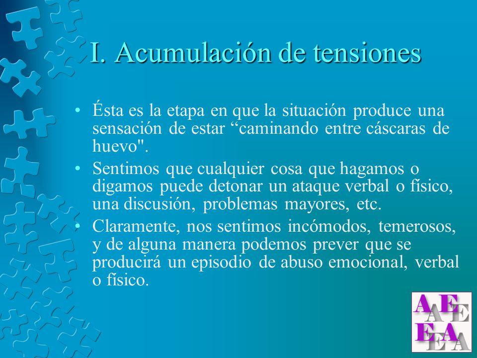 I. Acumulación de tensiones Ésta es la etapa en que la situación produce una sensación de estar caminando entre cáscaras de huevo