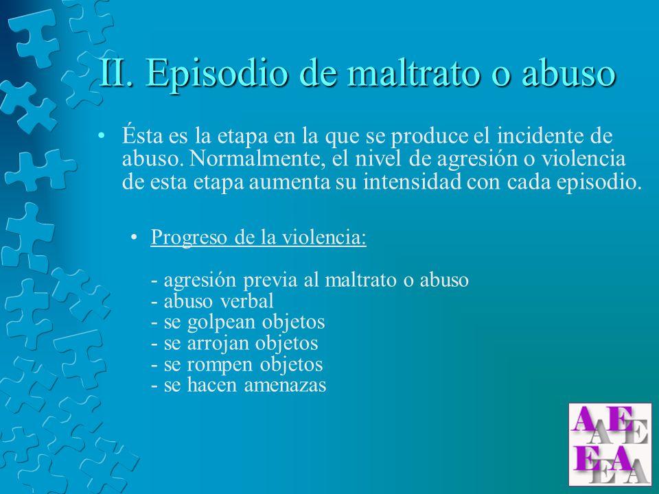 II. Episodio de maltrato o abuso Ésta es la etapa en la que se produce el incidente de abuso. Normalmente, el nivel de agresión o violencia de esta et