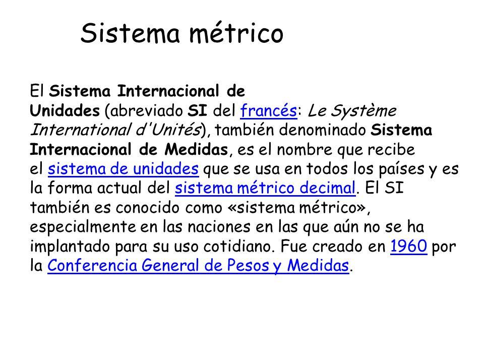 El Sistema Internacional de Unidades (abreviado SI del francés: Le Système International d'Unités), también denominado Sistema Internacional de Medida