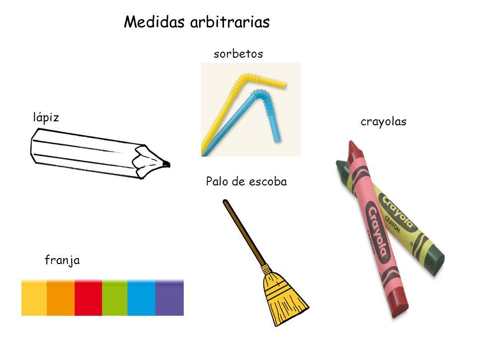 lάpiz Palo de escoba crayolas franja sorbetos Medidas arbitrarias