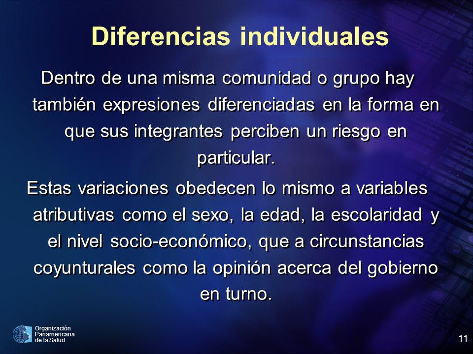 Organización Panamericana de la Salud 11 Dentro de una misma comunidad o grupo hay también expresiones diferenciadas en la forma en que sus integrantes perciben un riesgo en particular.