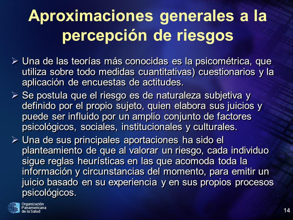 Organización Panamericana de la Salud 14 Una de las teorías más conocidas es la psicométrica, que utiliza sobre todo medidas cuantitativas) cuestionarios y la aplicación de encuestas de actitudes.