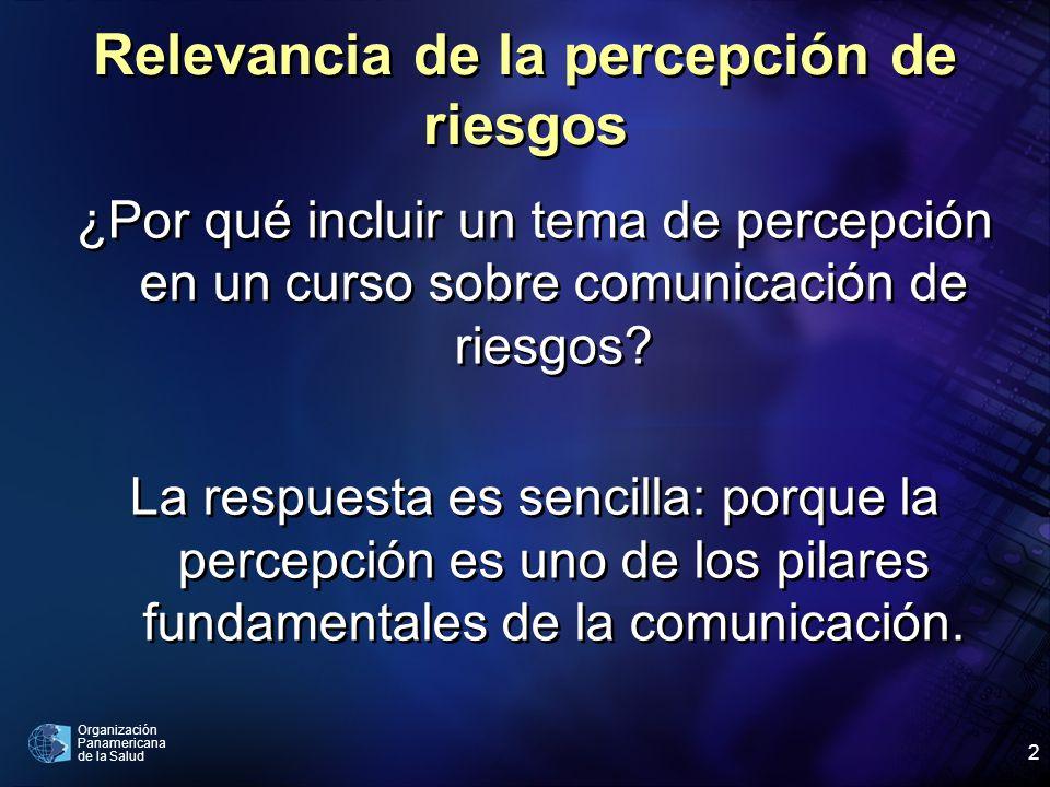 Organización Panamericana de la Salud 2 Relevancia de la percepción de riesgos ¿Por qué incluir un tema de percepción en un curso sobre comunicación d