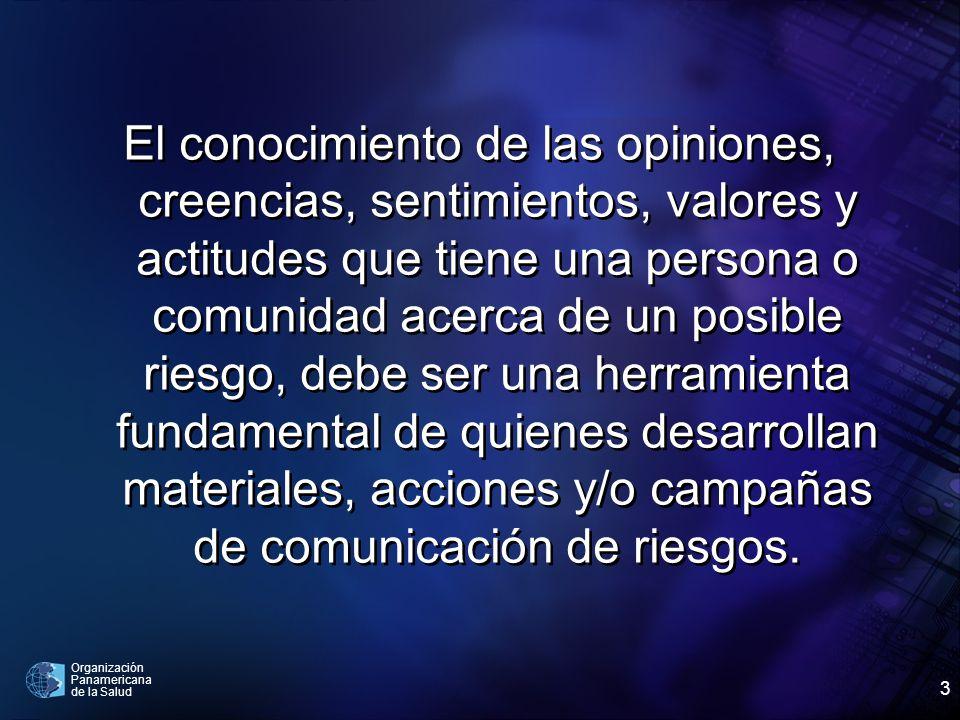 Organización Panamericana de la Salud 3 El conocimiento de las opiniones, creencias, sentimientos, valores y actitudes que tiene una persona o comunid
