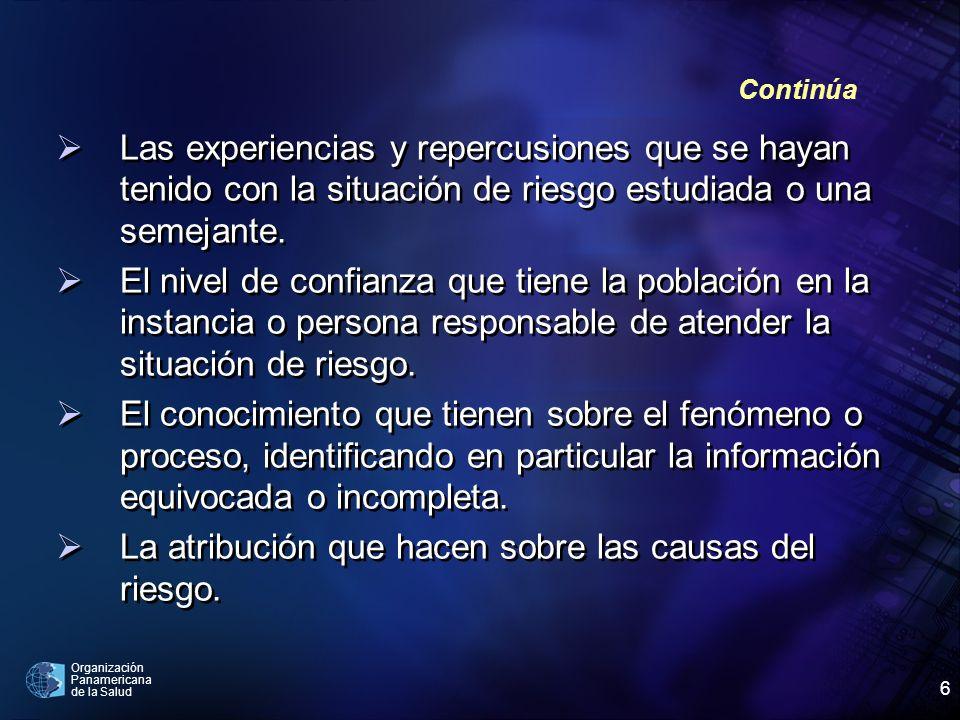 Organización Panamericana de la Salud 6 Las experiencias y repercusiones que se hayan tenido con la situación de riesgo estudiada o una semejante. El