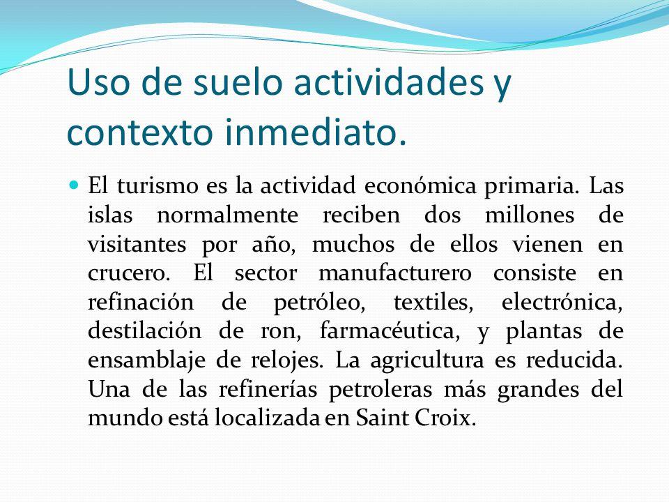 Uso de suelo actividades y contexto inmediato. El turismo es la actividad económica primaria. Las islas normalmente reciben dos millones de visitantes