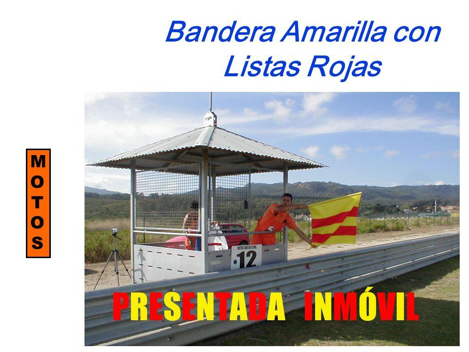 MOTOSMOTOS Bandera Amarilla con Listas Rojas PRESENTADA INMÓVIL
