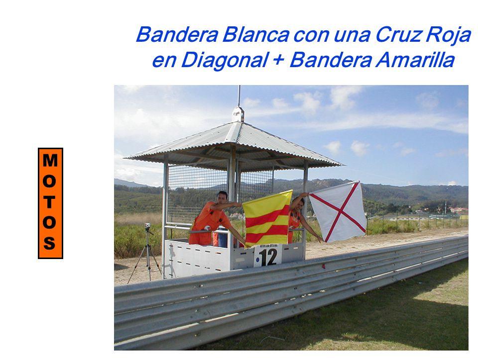 MOTOSMOTOS Bandera Blanca con una Cruz Roja en Diagonal + Bandera Amarilla