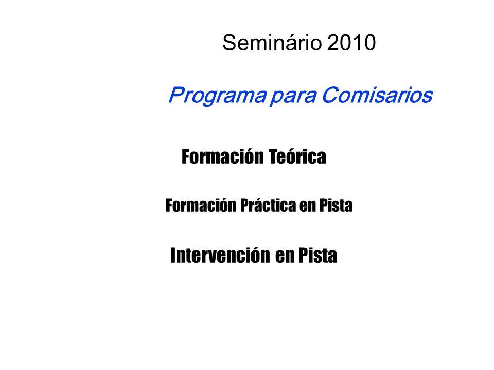 Formación Teórica Formación Práctica en Pista Intervención en Pista Seminário 2010 Programa para Comisarios