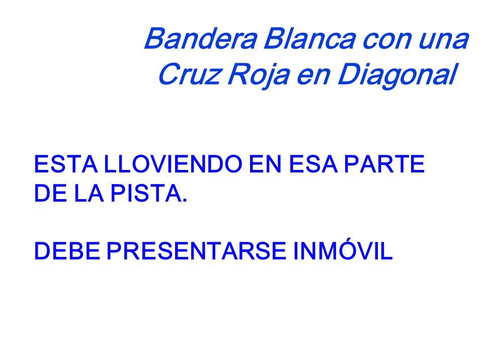 Bandera Blanca con una Cruz Roja en Diagonal ESTA LLOVIENDO EN ESA PARTE DE LA PISTA.