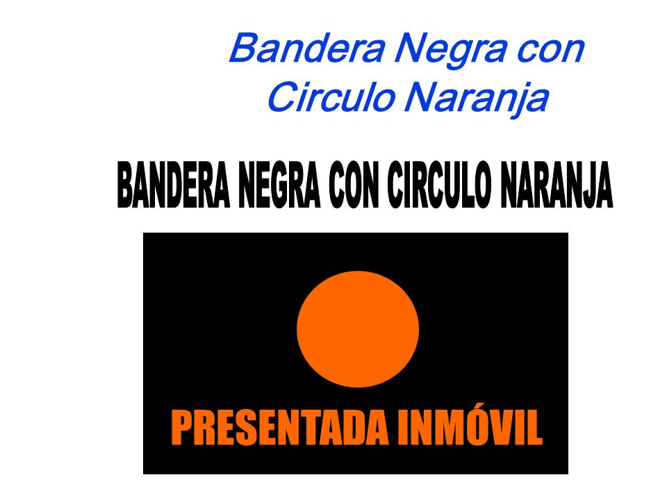 Bandera Negra con Circulo Naranja PRESENTADA INMÓVIL