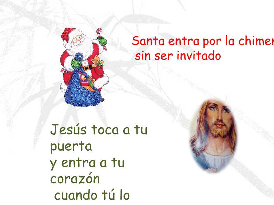 Santa llena los calcetines colgados en la pared con dulces Jesús llena tu vida y te da todo lo que necesitas