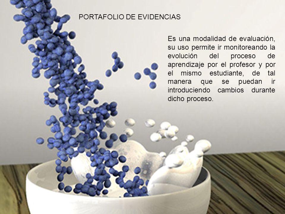 PORTAFOLIO DE EVIDENCIAS Es una modalidad de evaluación, su uso permite ir monitoreando la evolución del proceso de aprendizaje por el profesor y por