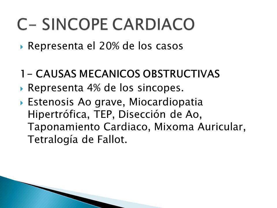 Representa el 20% de los casos 1- CAUSAS MECANICOS OBSTRUCTIVAS Representa 4% de los sincopes.