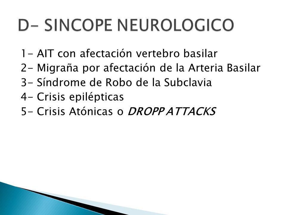 1- AIT con afectación vertebro basilar 2- Migraña por afectación de la Arteria Basilar 3- Síndrome de Robo de la Subclavia 4- Crisis epilépticas 5- Crisis Atónicas o DROPP ATTACKS