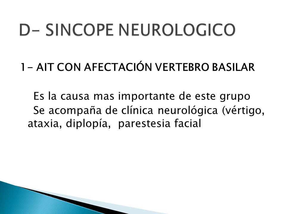 1- AIT CON AFECTACIÓN VERTEBRO BASILAR Es la causa mas importante de este grupo Se acompaña de clínica neurológica (vértigo, ataxia, diplopía, parestesia facial