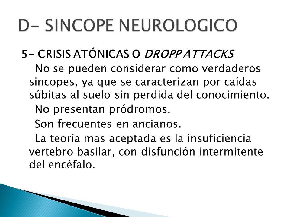5- CRISIS ATÓNICAS O DROPP ATTACKS No se pueden considerar como verdaderos sincopes, ya que se caracterizan por caídas súbitas al suelo sin perdida del conocimiento.