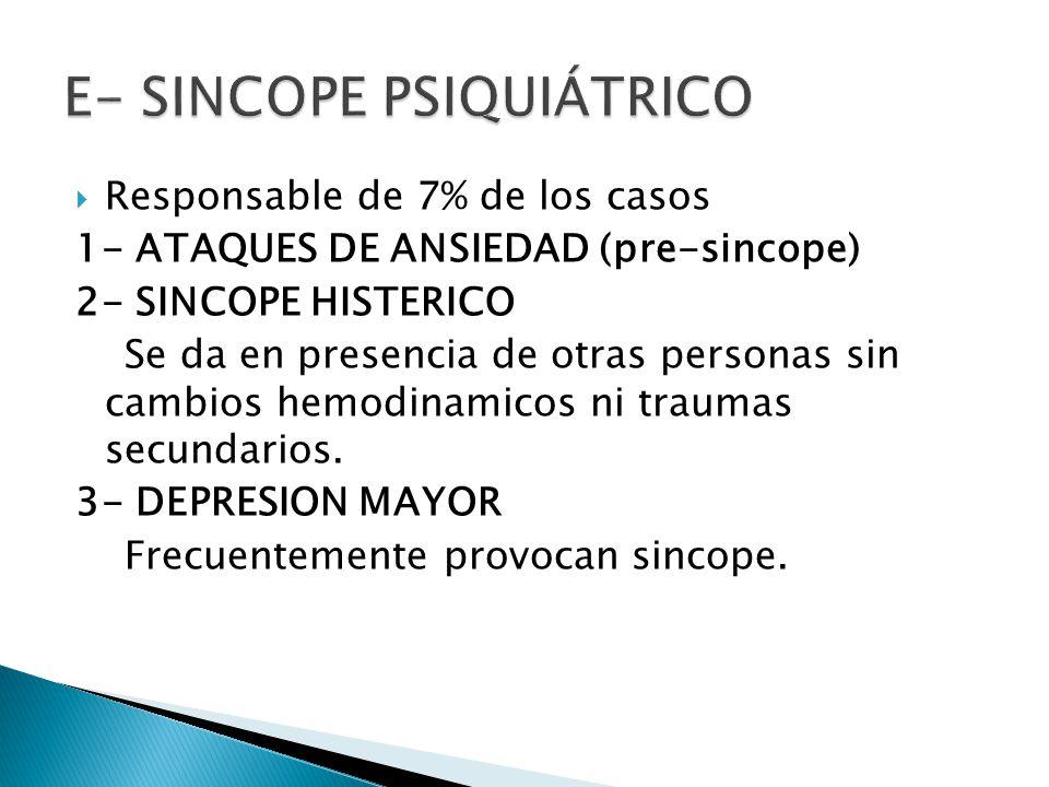 Responsable de 7% de los casos 1- ATAQUES DE ANSIEDAD (pre-sincope) 2- SINCOPE HISTERICO Se da en presencia de otras personas sin cambios hemodinamicos ni traumas secundarios.