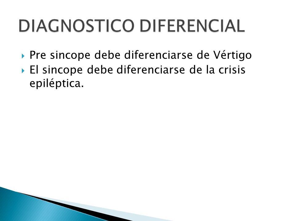 Pre sincope debe diferenciarse de Vértigo El sincope debe diferenciarse de la crisis epiléptica.