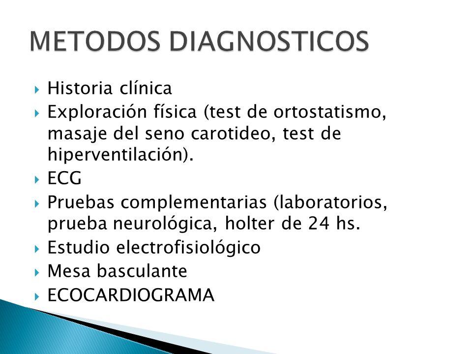 Historia clínica Exploración física (test de ortostatismo, masaje del seno carotideo, test de hiperventilación).