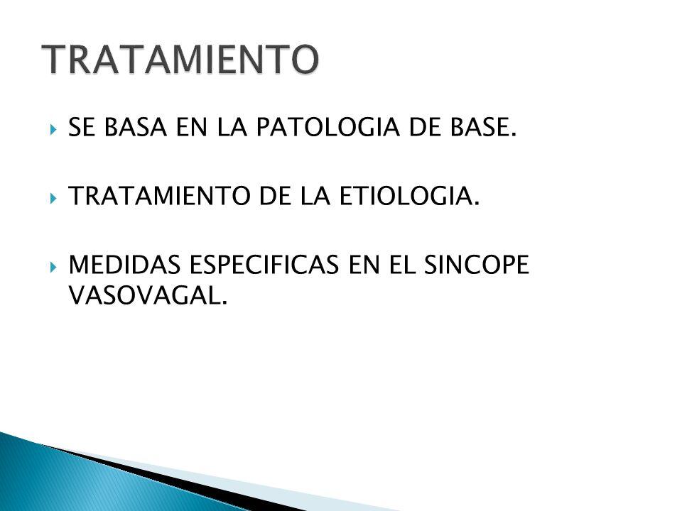 SE BASA EN LA PATOLOGIA DE BASE.TRATAMIENTO DE LA ETIOLOGIA.