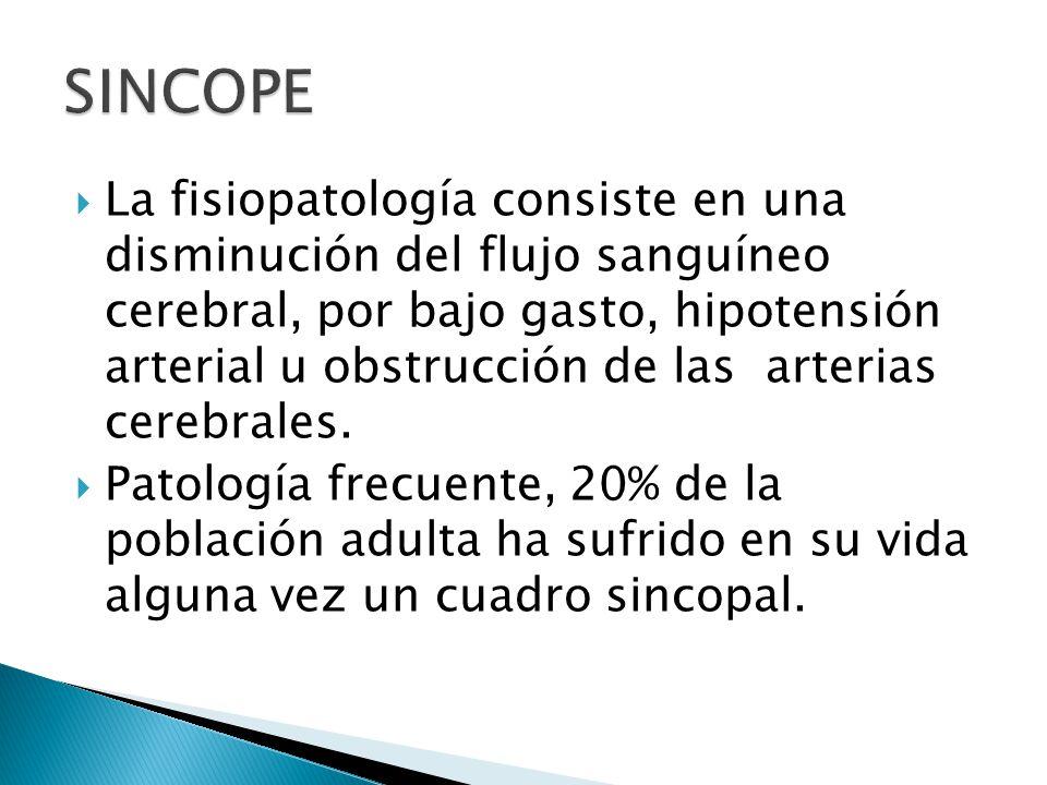 La fisiopatología consiste en una disminución del flujo sanguíneo cerebral, por bajo gasto, hipotensión arterial u obstrucción de las arterias cerebrales.