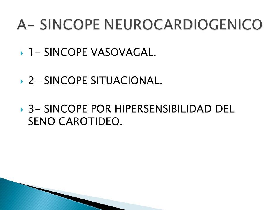 1- SINCOPE VASOVAGAL. 2- SINCOPE SITUACIONAL. 3- SINCOPE POR HIPERSENSIBILIDAD DEL SENO CAROTIDEO.